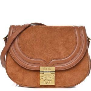 MCM Brown Cognac Suede Trisha Shoulder Bag